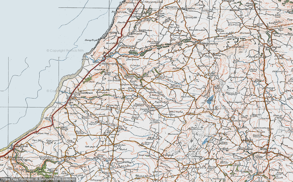 Old Map of Historic Map covering Talwrn Hogfaen in 1922