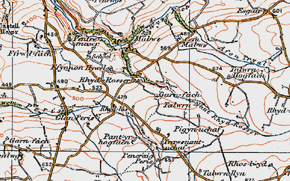 Old map of Talwrn Hogfaen in 1922