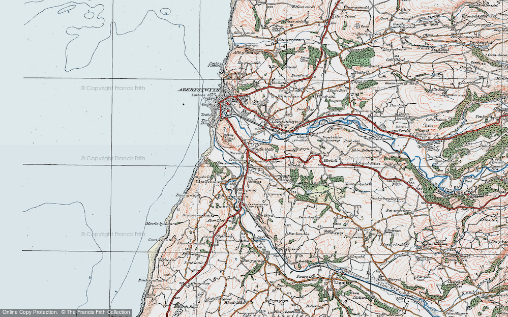 Old Map of Historic Map covering Bâch-y-rhew in 1922