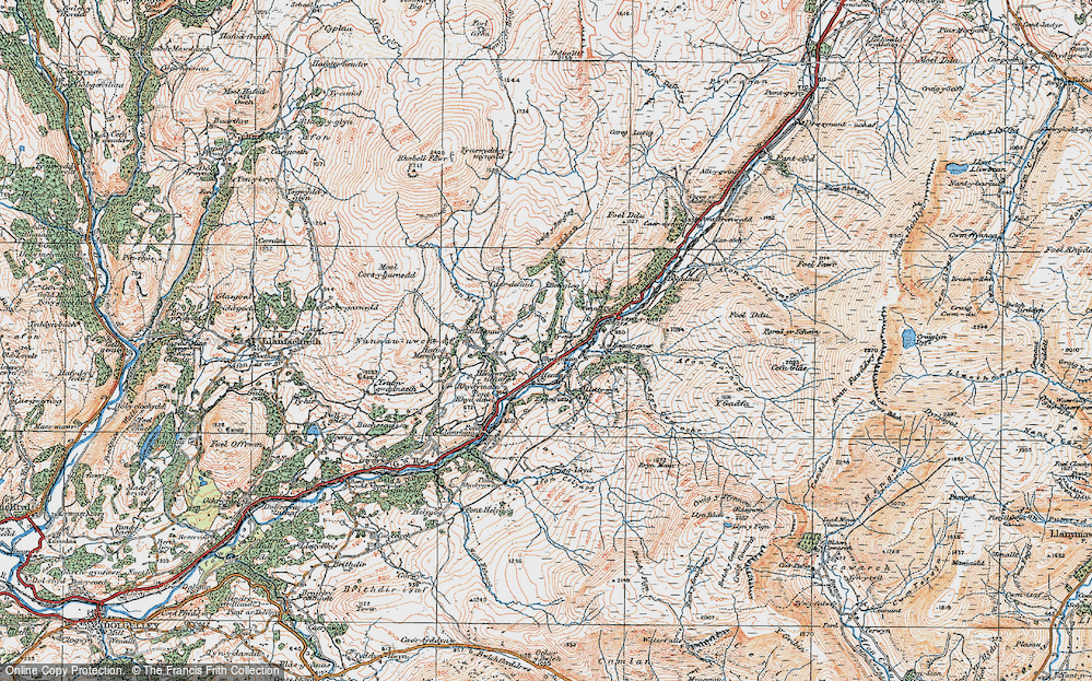 Old Map of Historic Map covering Afon Cwm-ochr in 1921