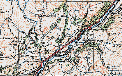 Old map of Afon Harnog in 1921