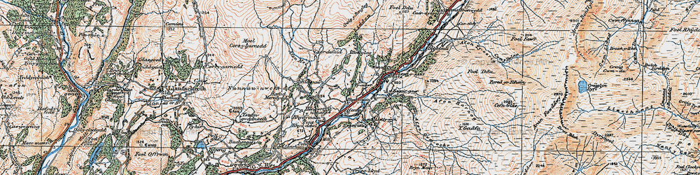 Old map of Afon Eiddon in 1921