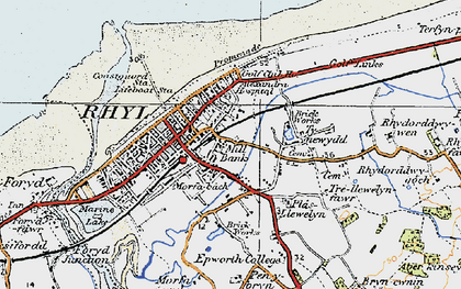 Old map of Rhyl in 1922