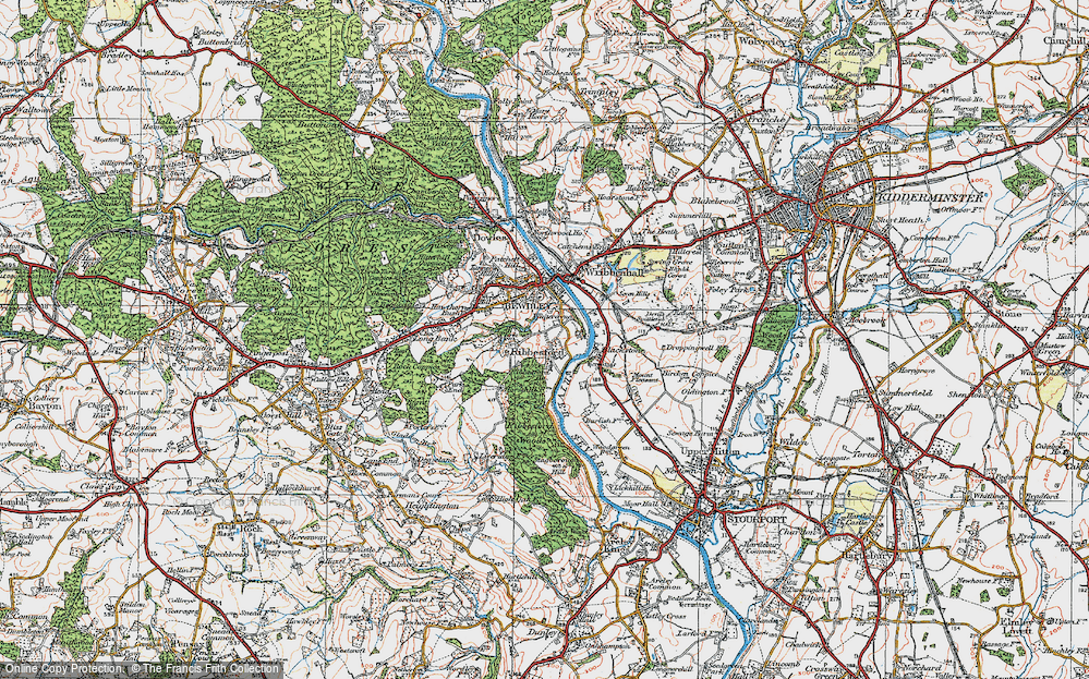 Old Map of Ribbesford, 1921 in 1921