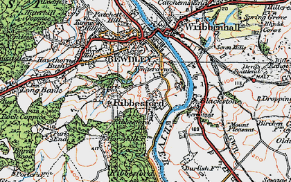 Old map of Ribbesford in 1921