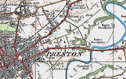 Old map of Ribbleton in 1924