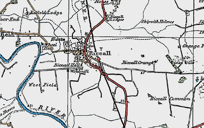 Old map of Riccall in 1924