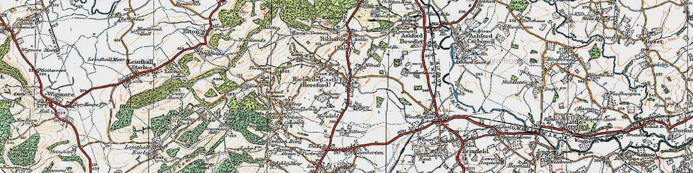 Old map of Richards Castle in 1920