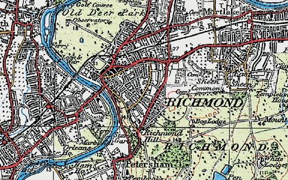 Old map of Richmond in 1920