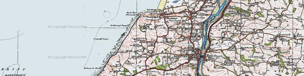 Old map of Abbotsham Court in 1919