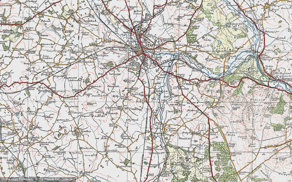 Old Map of Historic Map covering Ashflats in 1921