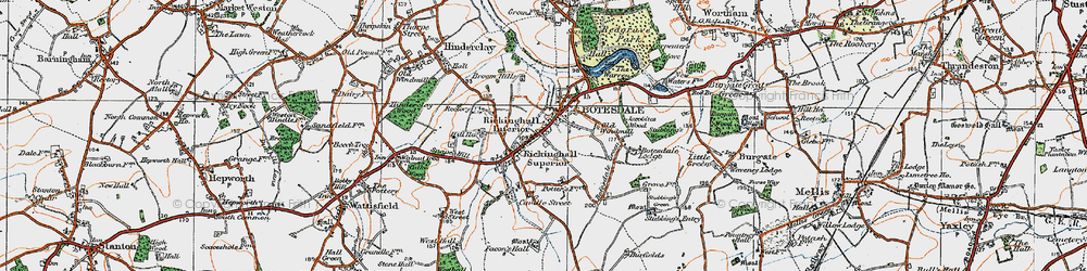Old map of Rickinghall in 1920