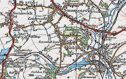Old map of Riddings in 1921