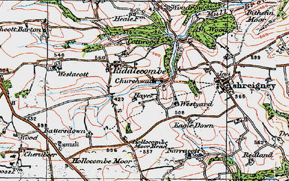 Old map of Westacott Barton in 1919