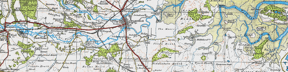 Old map of Ridge in 1919