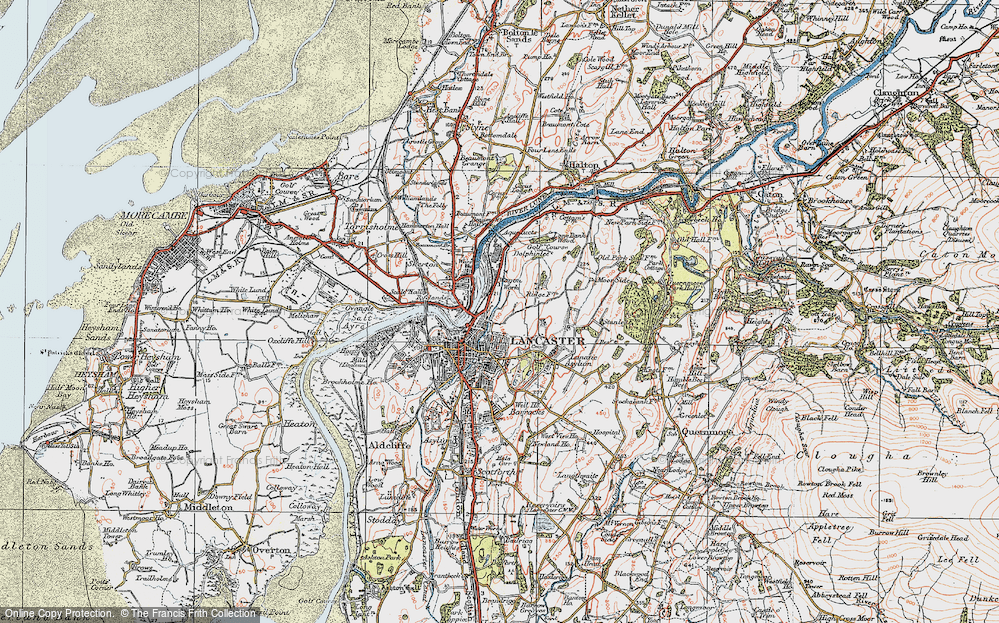 Old Map of Historic Map covering Ashton Meml in 1924