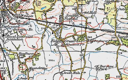 Old map of Ridge Green in 1920