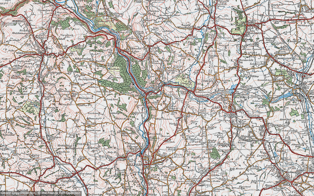 Old Map of Historic Map covering Ambergate in 1921