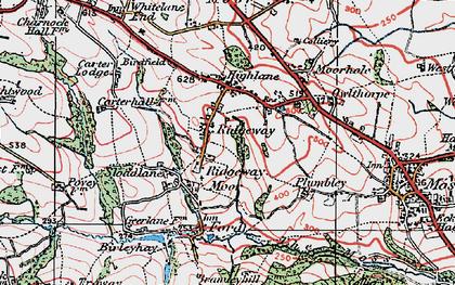 Old map of Ridgeway Moor in 1923