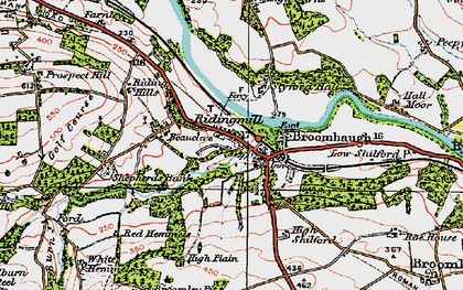 Old map of Riding Mill in 1925