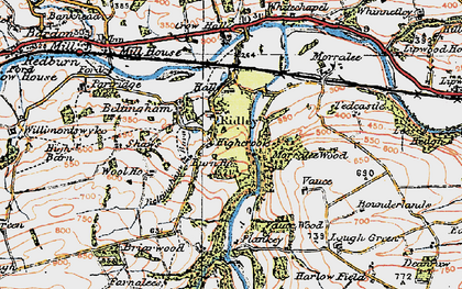 Old map of Allen Banks in 1925