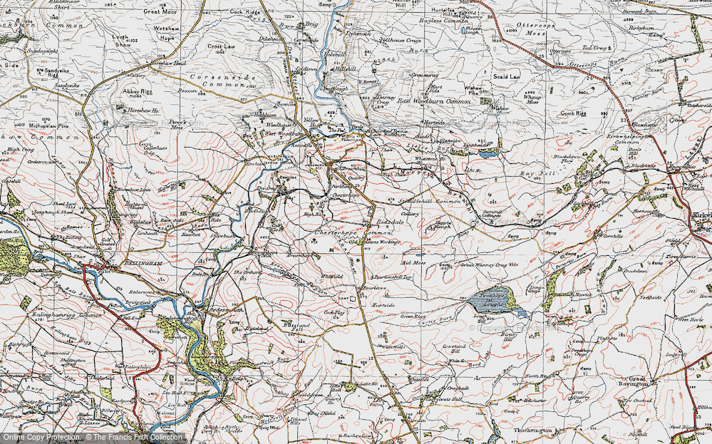 Old Map of Historic Map covering Aid Moss in 1925