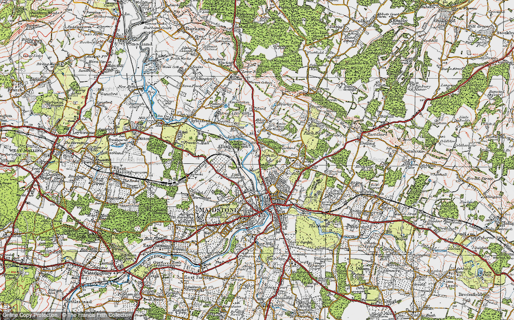 Old Map of Historic Map covering Allington Castle in 1921