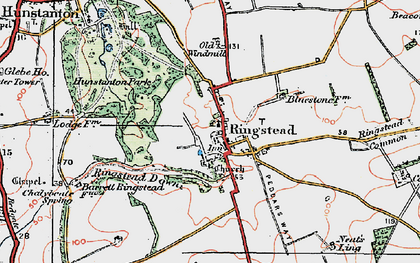 Old map of Ringstead in 1921