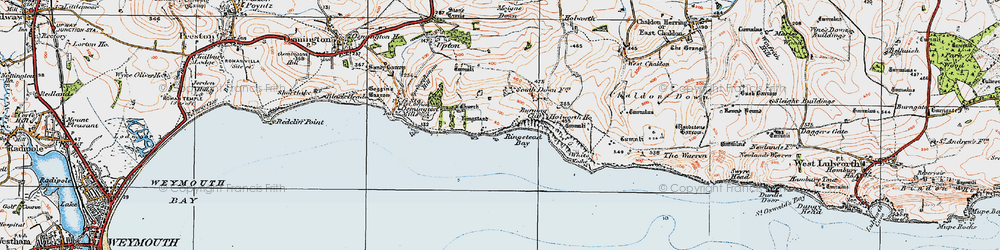 Old map of White Nothe in 1919