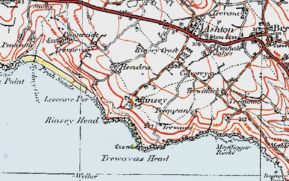 Old map of Rinsey in 1919