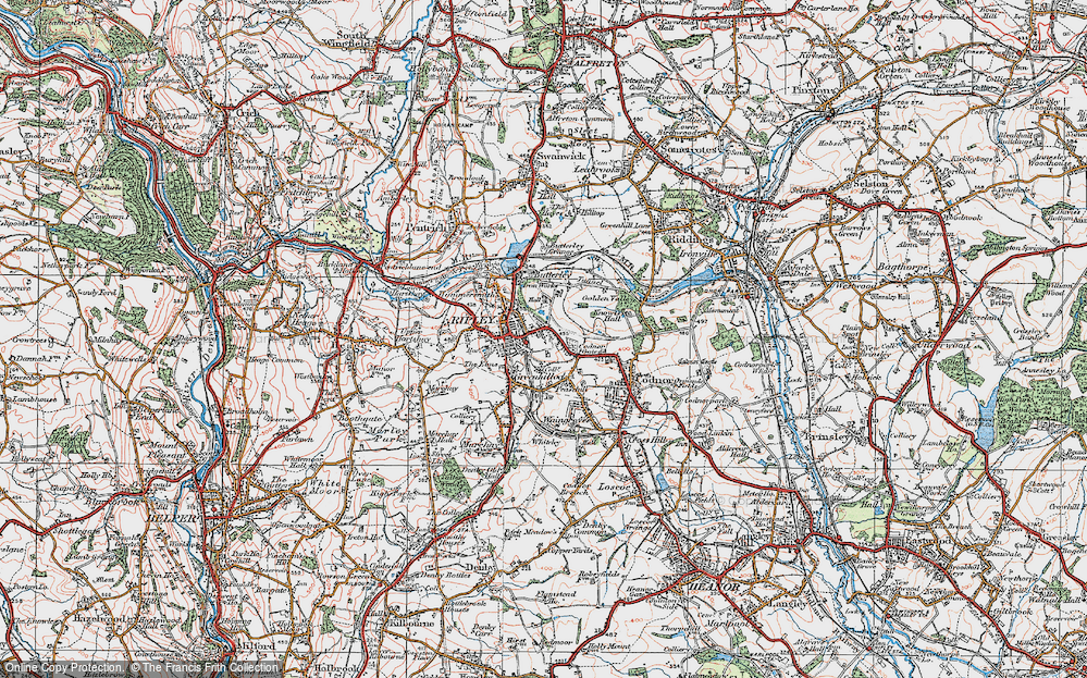 Old Map of Ripley, 1921 in 1921