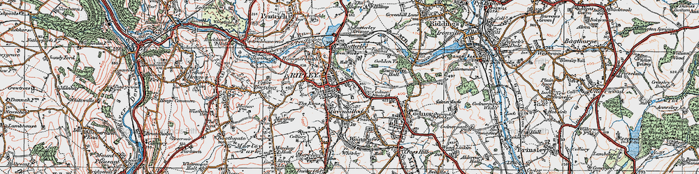 Old map of Ripley in 1921