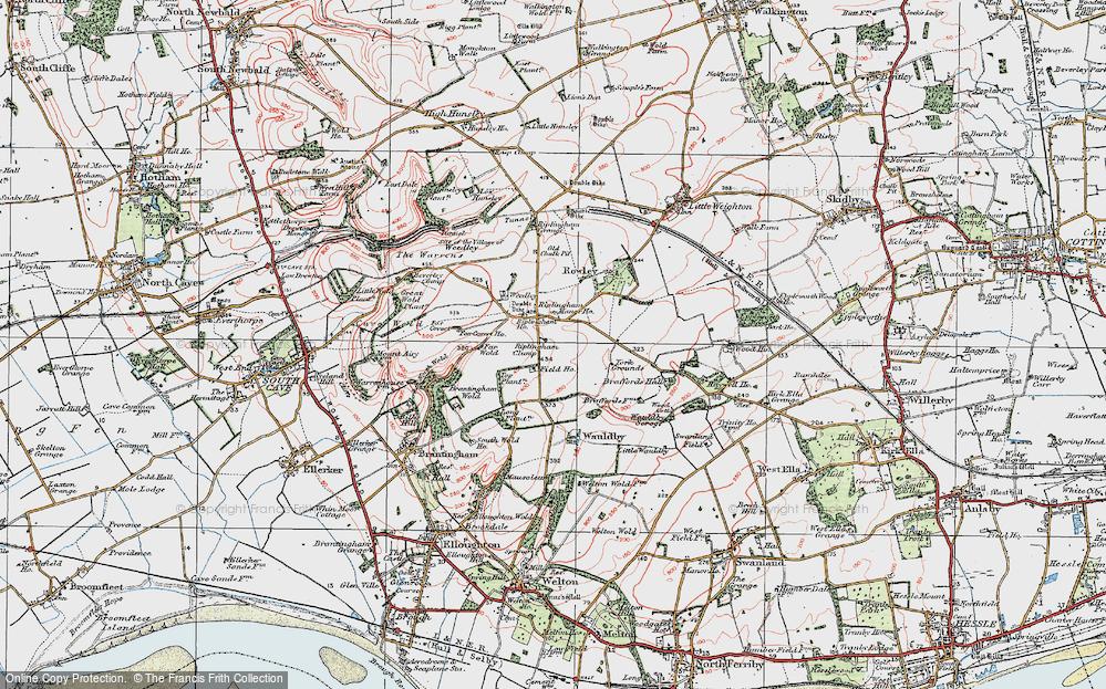 Old Map of Riplingham, 1924 in 1924