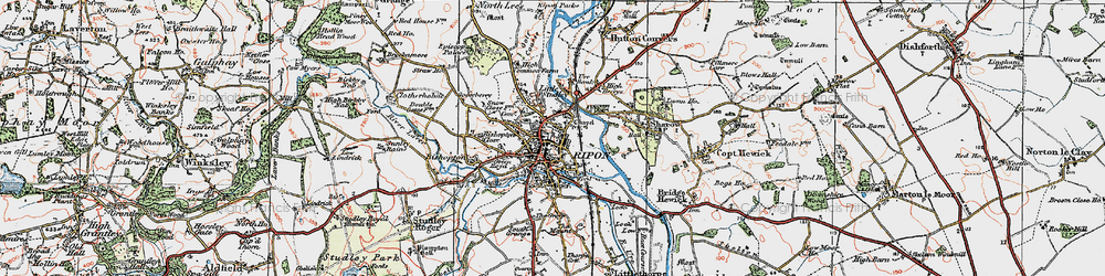 Old map of Ripon in 1925