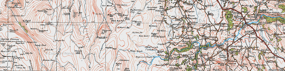 Old map of White Moor Stone in 1919