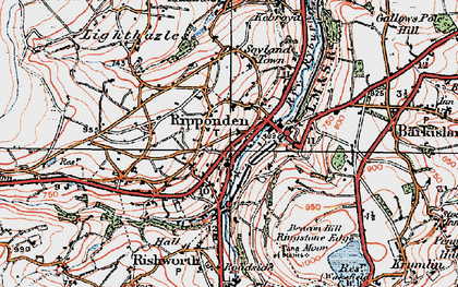 Old map of Ripponden in 1925