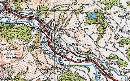 Old map of Risca in 1919