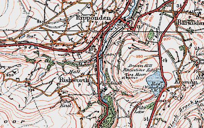 Old map of Rishworth in 1925