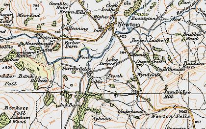 Old map of River Hodder in 1924