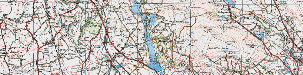 Old map of Lead Mines Clough in 1924