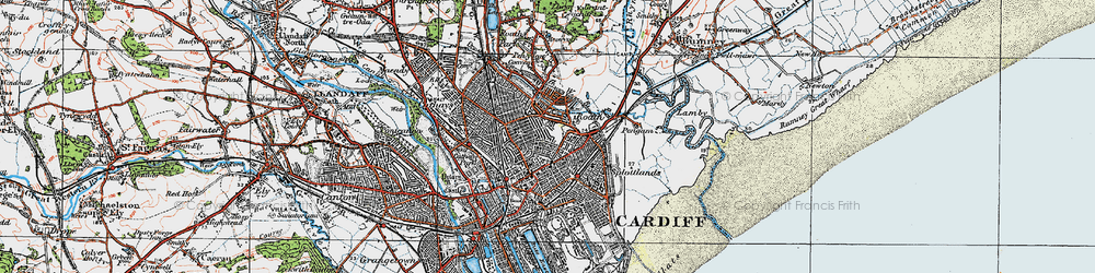 Old map of Roath in 1919