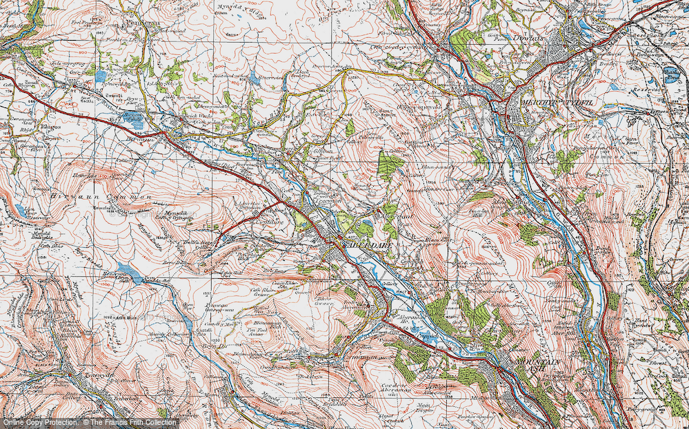 Old Map of Historic Map covering Abernant in 1923