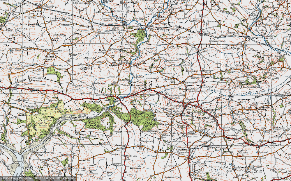 Old Map of Historic Map covering Woodfield in 1922