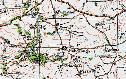 Old map of Whitsley Barton in 1919