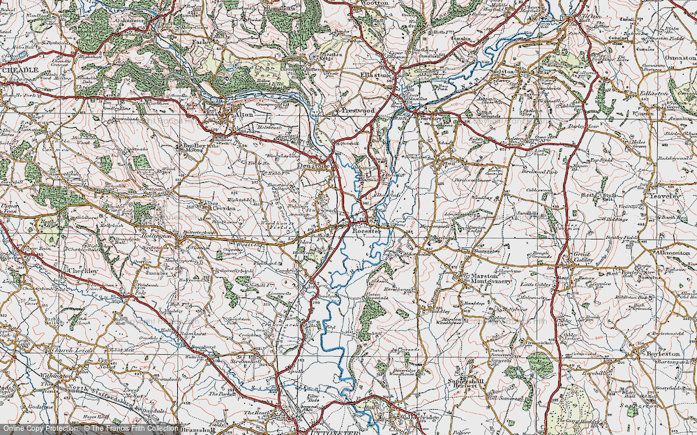 Old Map of Historic Map covering Abbotsholme School in 1921