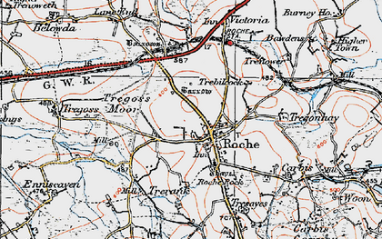 Old map of Roche in 1919
