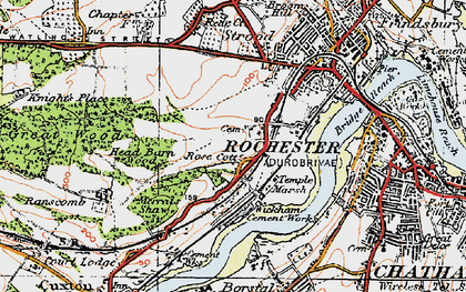 Old map of Rochester in 1921