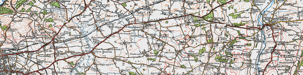 Old map of Rockbeare in 1919