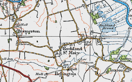 Old map of Rockland St Mary in 1922