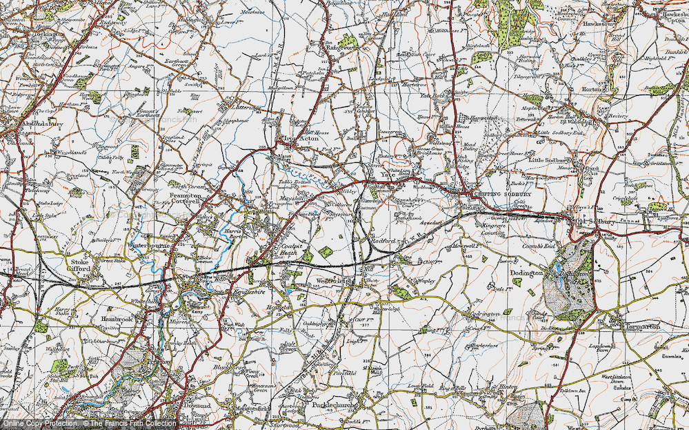 Old Map of Historic Map covering Westerleigh Common in 1919